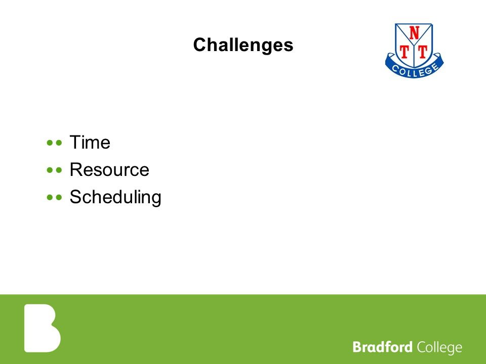 Challenges Time Resource Scheduling