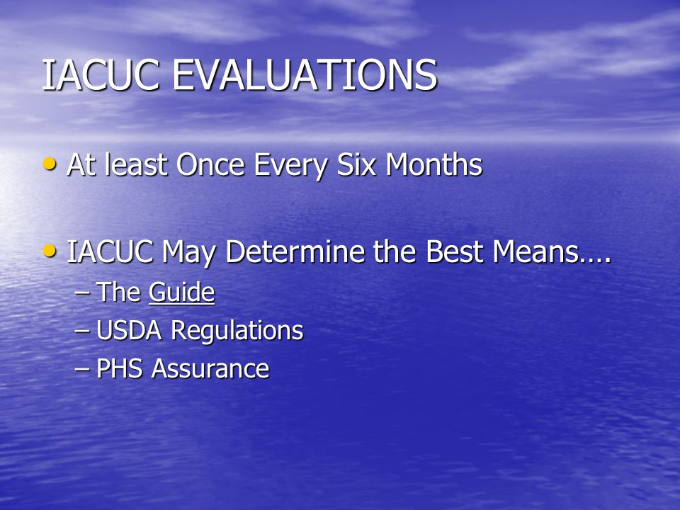 IACUC EVALUATIONS At least Once Every Six Months At least Once Every Six Months IACUC May Determine the Best Means….