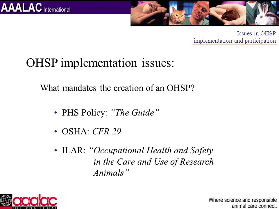 OHSP implementation issues: What mandates the creation of an OHSP? PHS Policy: The Guide OSHA: CFR 29 ILAR: Occupational Health and Safety in the Care