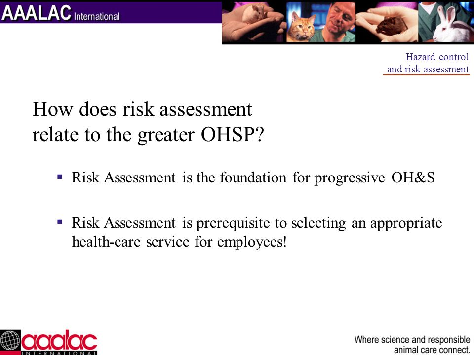 How does risk assessment relate to the greater OHSP? Risk Assessment is the foundation for progressive OH&S Risk Assessment is prerequisite to selecti