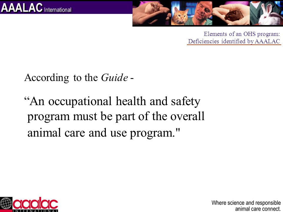 Personnel who have contact with experimental animals should receive training in the proper handling of the animals that they will work with.