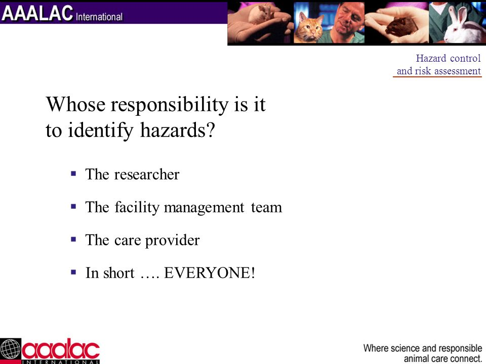 Whose responsibility is it to identify hazards? The researcher The facility management team The care provider In short …. EVERYONE! Hazard control and