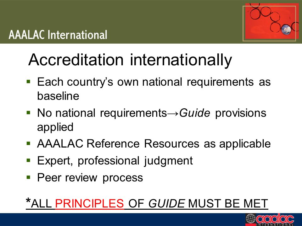 Accreditation internationally Each countrys own national requirements as baseline No national requirementsGuide provisions applied AAALAC Reference Resources as applicable Expert, professional judgment Peer review process * ALL PRINCIPLES OF GUIDE MUST BE MET
