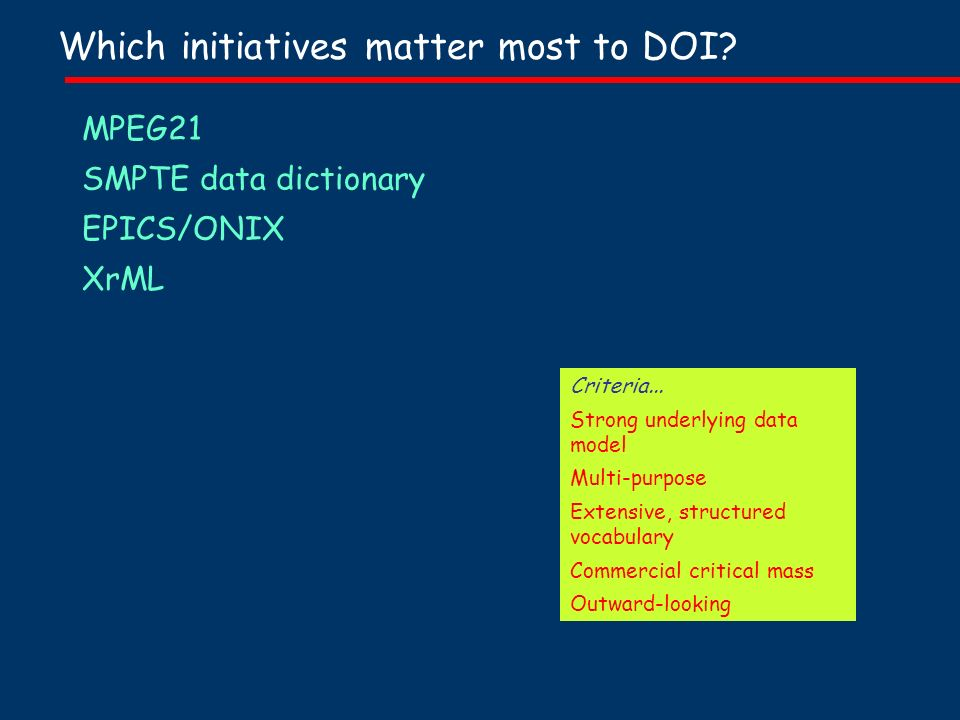 Which initiatives matter most to DOI. MPEG21 SMPTE data dictionary EPICS/ONIX XrML Criteria...