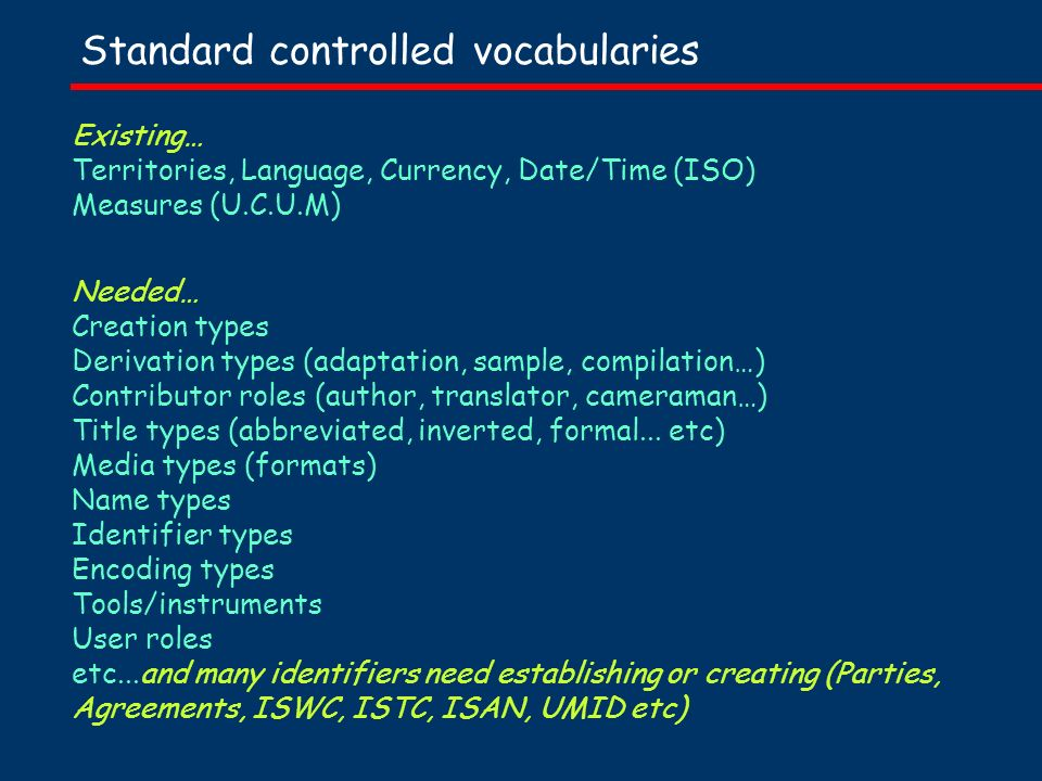 Standard controlled vocabularies Existing… Territories, Language, Currency, Date/Time (ISO) Measures (U.C.U.M) Needed… Creation types Derivation types (adaptation, sample, compilation…) Contributor roles (author, translator, cameraman…) Title types (abbreviated, inverted, formal...