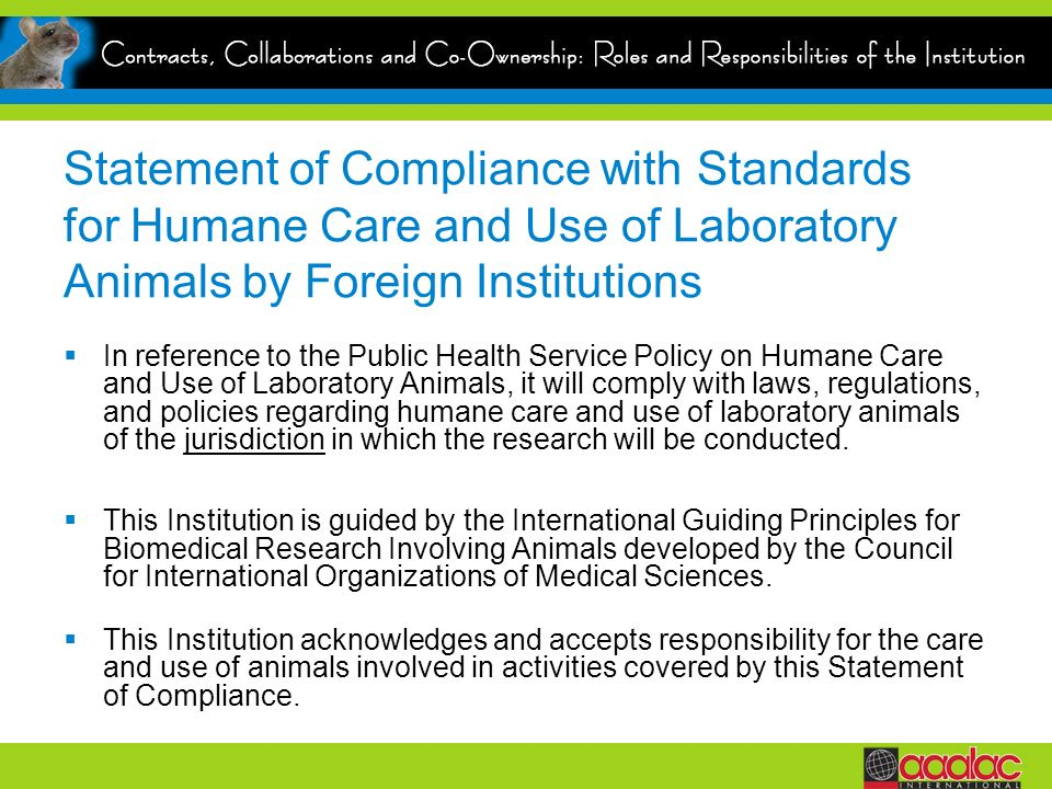 Statement of Compliance with Standards for Humane Care and Use of Laboratory Animals by Foreign Institutions In reference to the Public Health Service