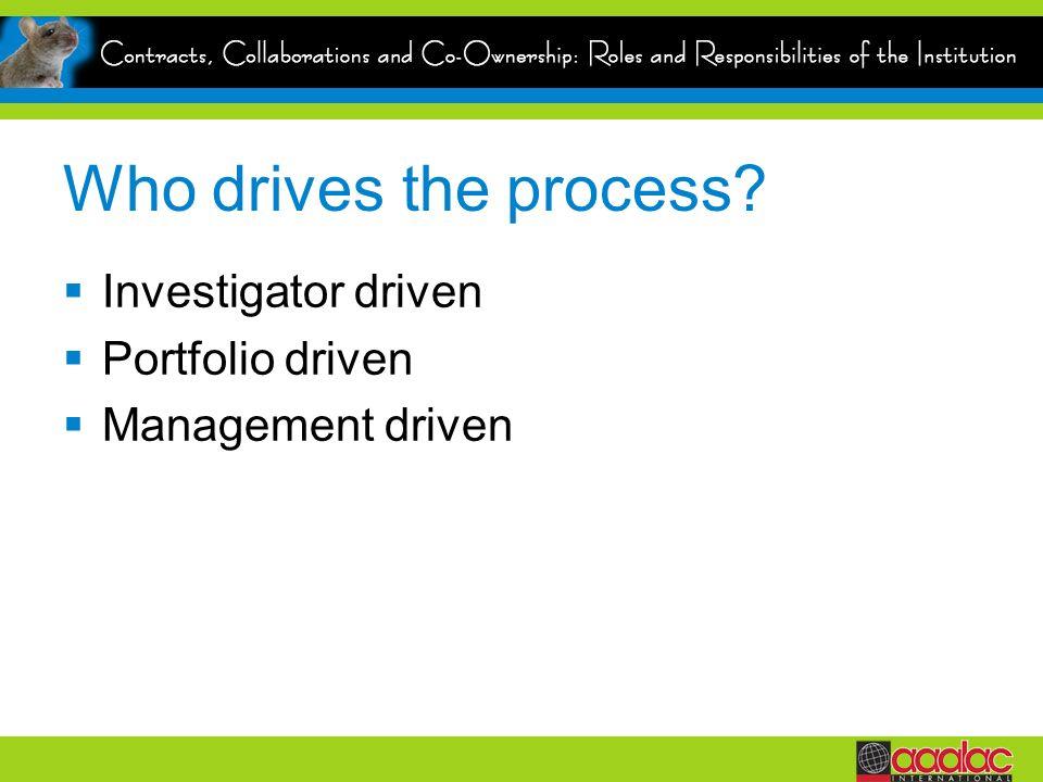 Who drives the process? Investigator driven Portfolio driven Management driven