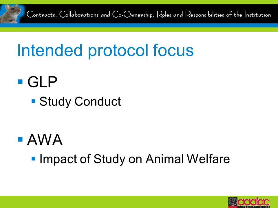 Intended protocol focus GLP Study Conduct AWA Impact of Study on Animal Welfare