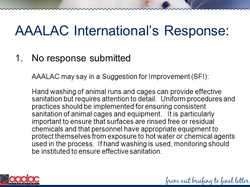 AAALAC Internationals Response: 1.No response submitted AAALAC may say in a Suggestion for Improvement (SFI): Hand washing of animal runs and cages ca