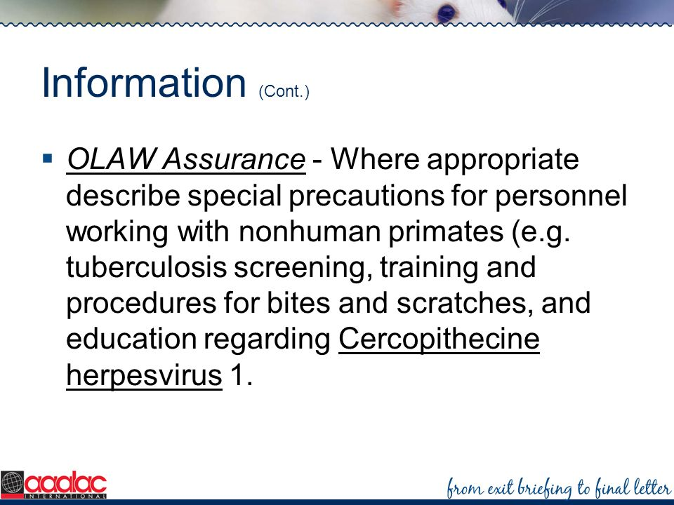 Information (Cont.) OLAW Assurance - Where appropriate describe special precautions for personnel working with nonhuman primates (e.g. tuberculosis sc