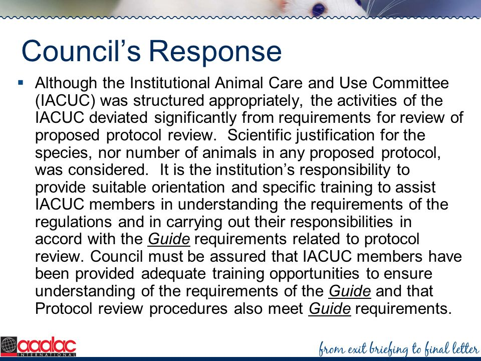 Councils Response Although the Institutional Animal Care and Use Committee (IACUC) was structured appropriately, the activities of the IACUC deviated