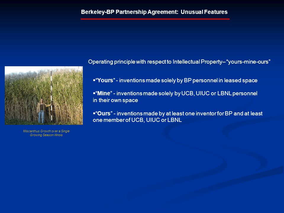 Berkeley-BP Partnership Agreement: Unusual Features Yours - inventions made solely by BP personnel in leased space Mine - inventions made solely by UCB, UIUC or LBNL personnel in their own space Ours - inventions made by at least one inventor for BP and at least one member of UCB, UIUC or LBNL Operating principle with respect to Intellectual Property– yours-mine-ours Miscanthus Growth over a Single Growing Season Illinois