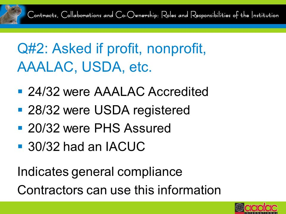 Q#2: Asked if profit, nonprofit, AAALAC, USDA, etc.