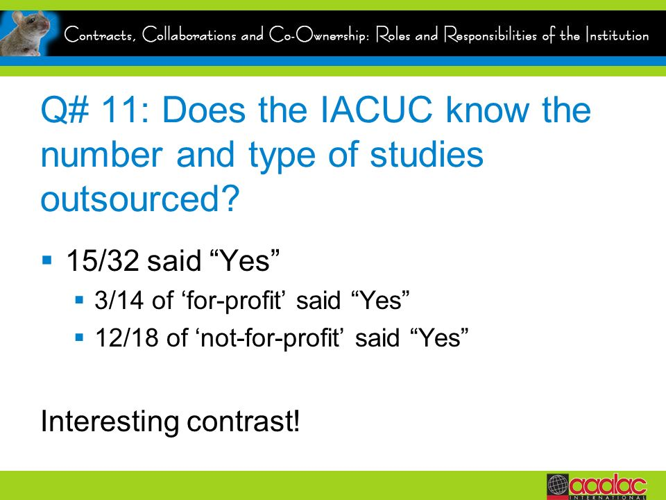 Q# 11: Does the IACUC know the number and type of studies outsourced.