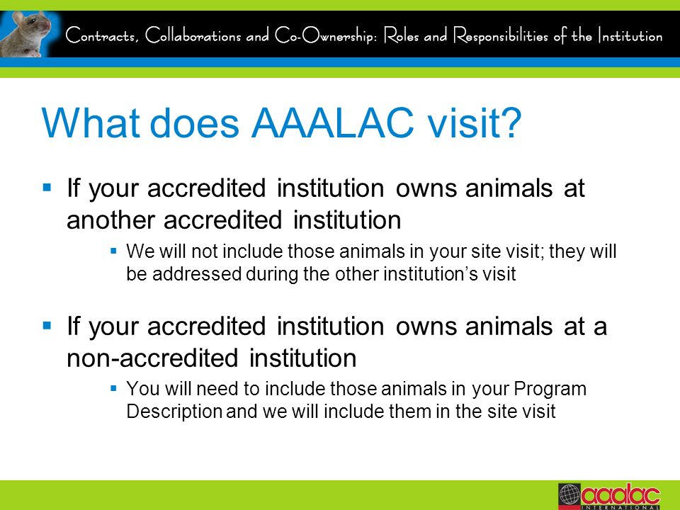 What does AAALAC visit? If your accredited institution owns animals at another accredited institution We will not include those animals in your site v