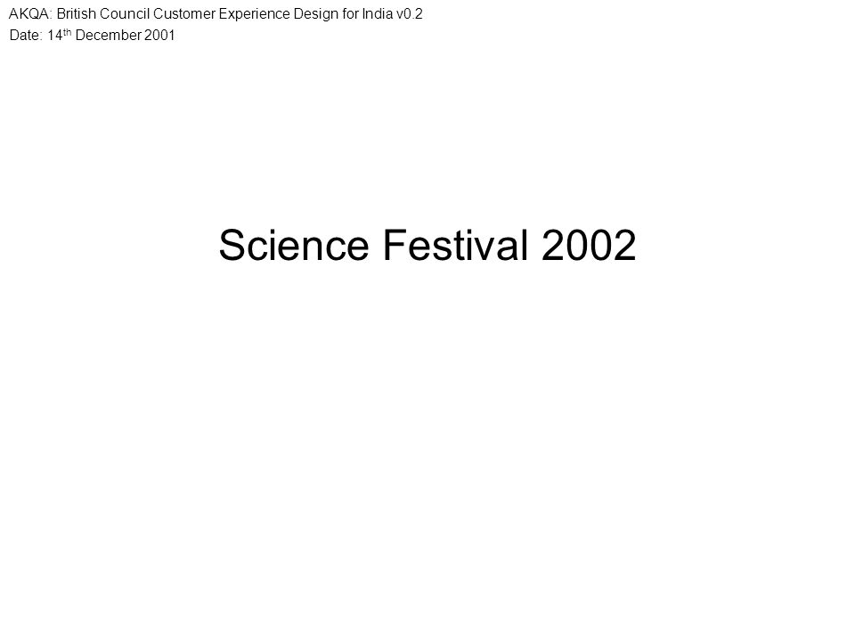 Date: 14 th December 2001 AKQA: British Council Customer Experience Design for India v0.2 Science Festival 2002