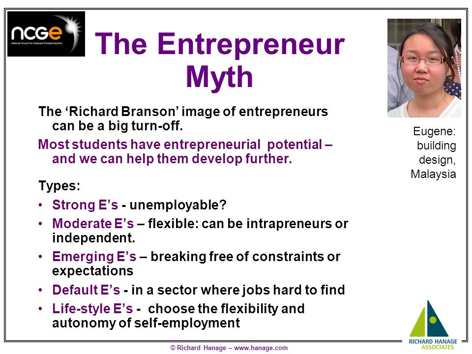 © Richard Hanage – www.hanage.com The Graduate Start-up Myth A few (4%) of UK graduates start a full time business on graduating We should be wary of increasing this sharply Alternative, better, starting points may be: –Specialised training, eg Masters Degree –Business training –Work in a small business in chosen sector –Work in an entrepreneurial team in a big company (eg sales) –Part-time business alongside employment –Travel for experience: do interesting things Jason: energy assessment, Teesside, UK