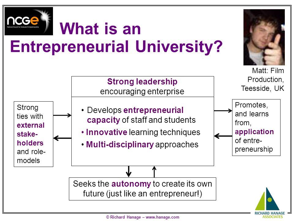© Richard Hanage – www.hanage.com How Entrepreneurial are UK Universities.