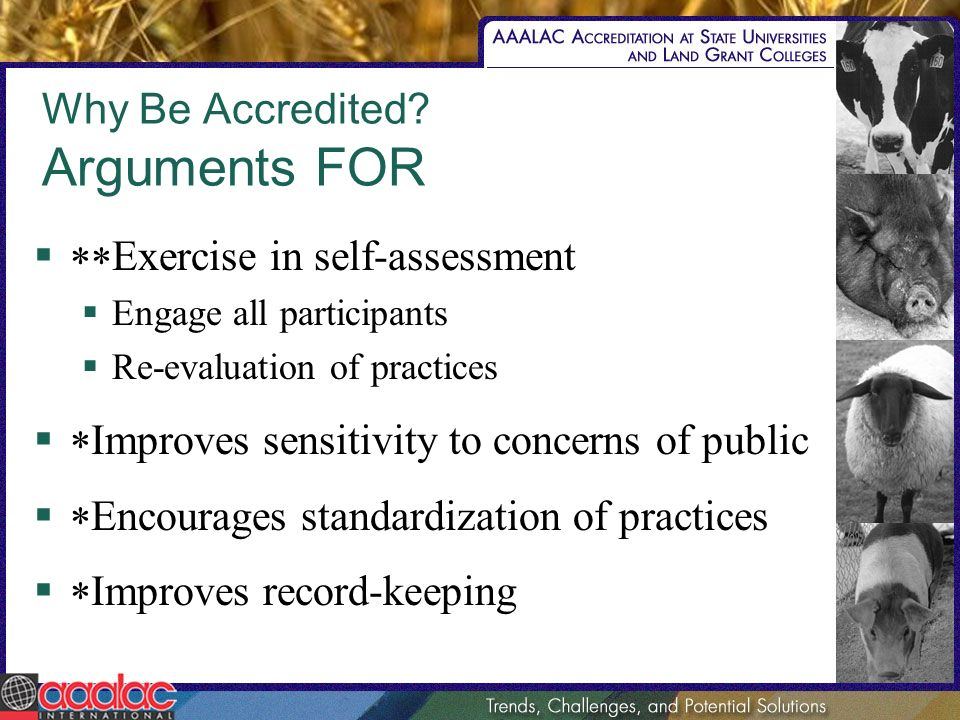 Why Be Accredited? Arguments FOR Exercise in self-assessment Engage all participants Re-evaluation of practices Improves sensitivity to concerns of pu