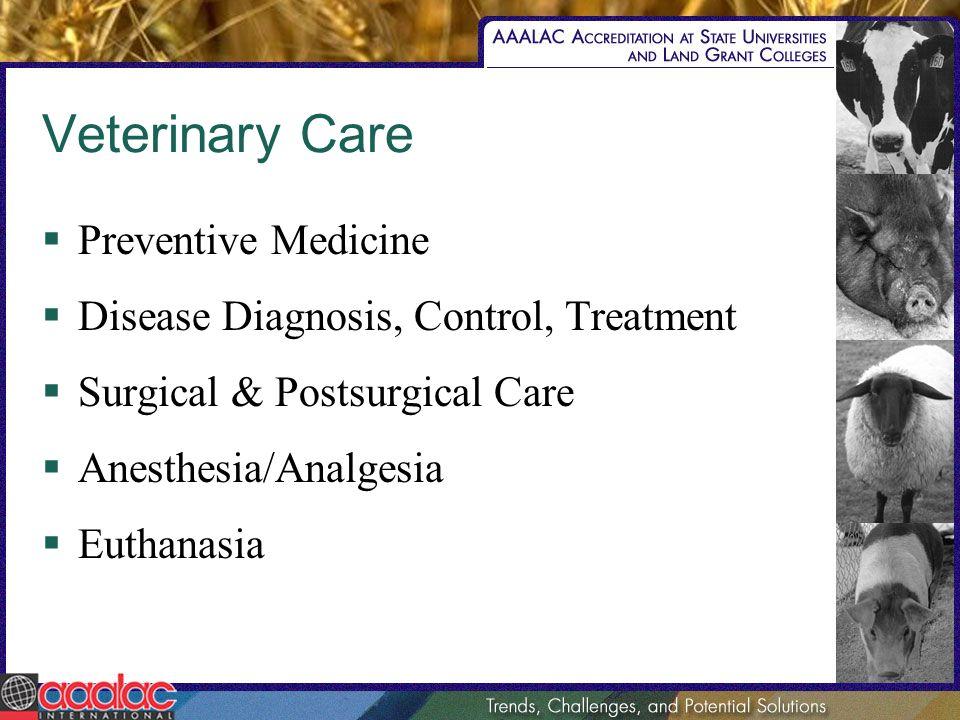Veterinary Care Preventive Medicine Disease Diagnosis, Control, Treatment Surgical & Postsurgical Care Anesthesia/Analgesia Euthanasia