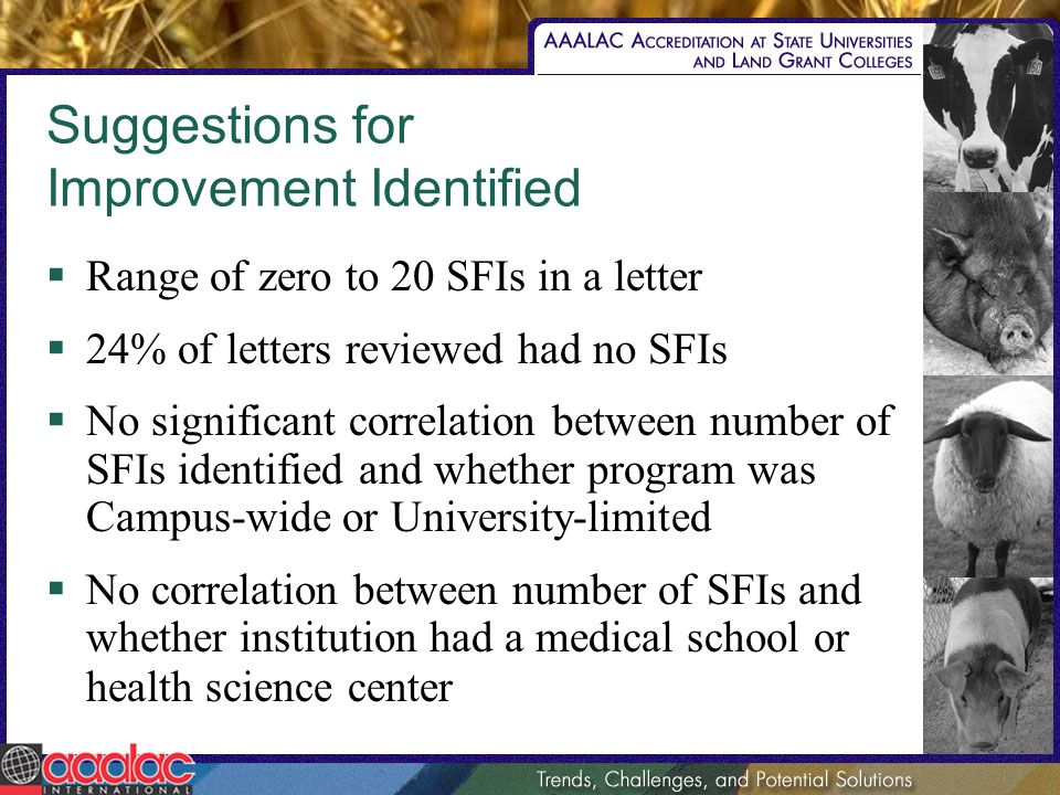 Suggestions for Improvement Identified Range of zero to 20 SFIs in a letter 24% of letters reviewed had no SFIs No significant correlation between number of SFIs identified and whether program was Campus-wide or University-limited No correlation between number of SFIs and whether institution had a medical school or health science center