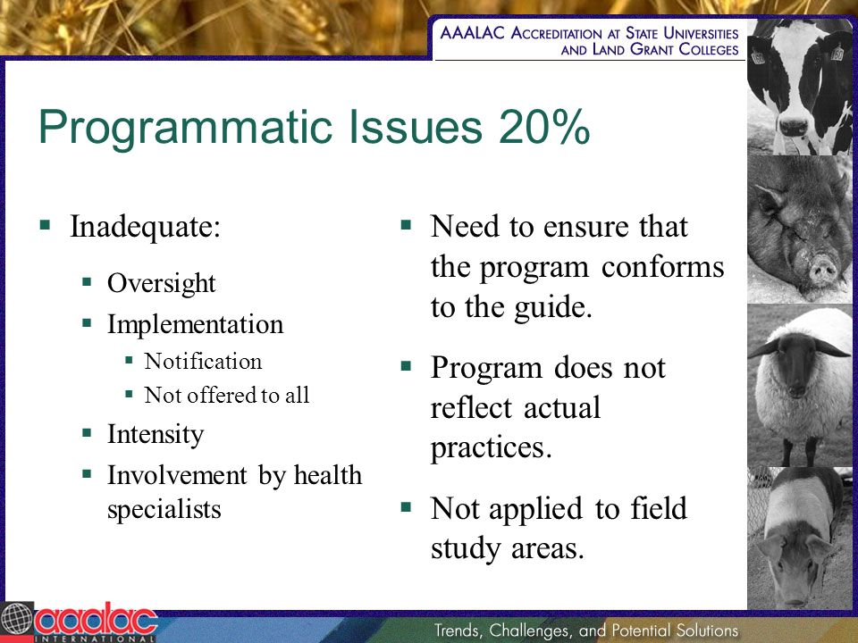 Programmatic Issues 20% Inadequate: Oversight Implementation Notification Not offered to all Intensity Involvement by health specialists Need to ensure that the program conforms to the guide.