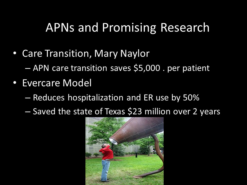 APNs and Promising Research Care Transition, Mary Naylor – APN care transition saves $5,000. per patient Evercare Model – Reduces hospitalization and
