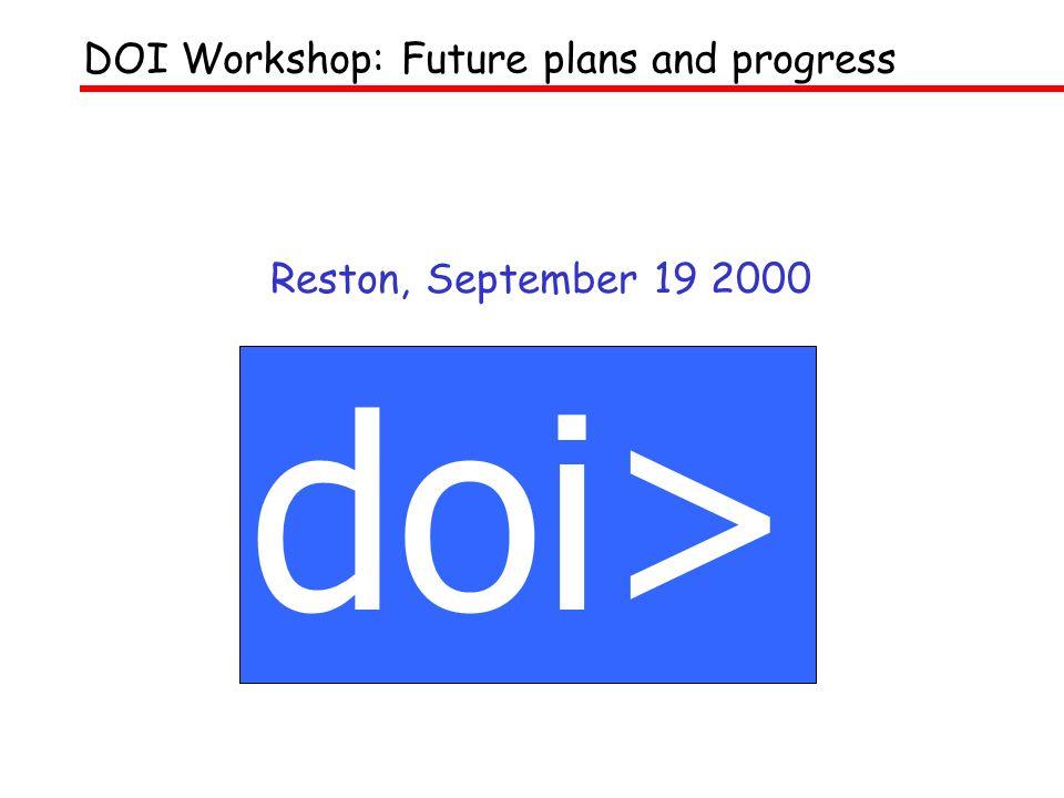 Reston, September 19 2000 doi> DOI Workshop: Future plans and progress