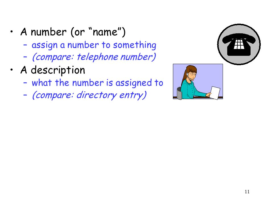 11 A number (or name) –assign a number to something –(compare: telephone number) A description –what the number is assigned to –(compare: directory entry)