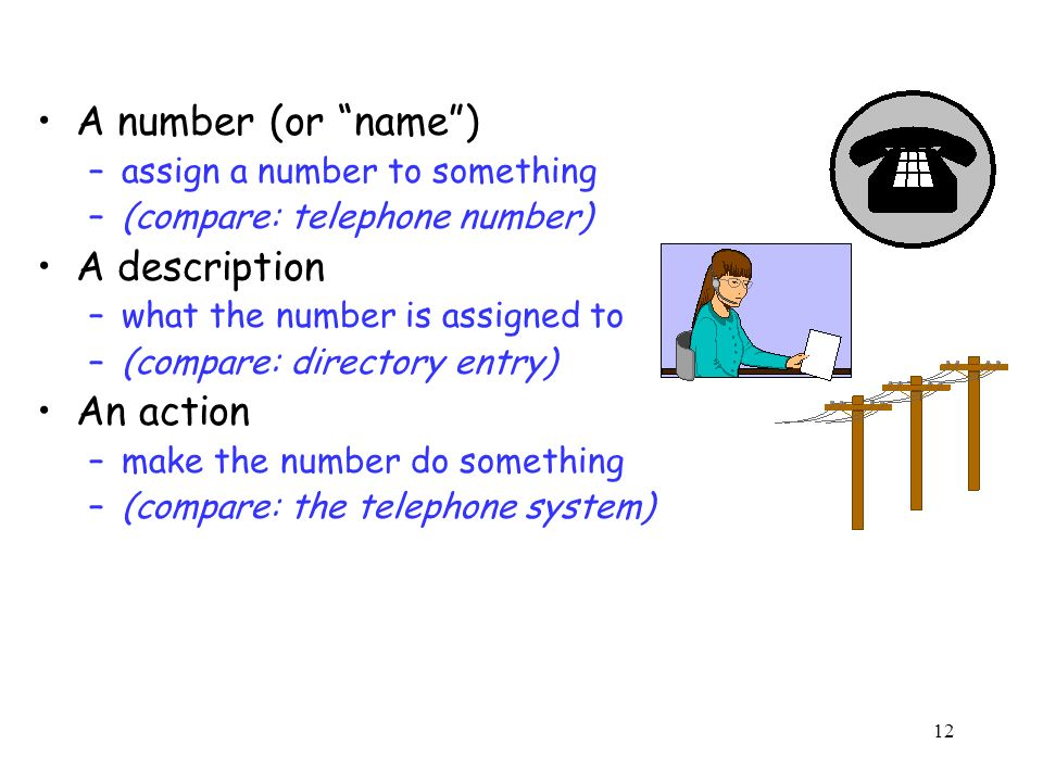 12 A number (or name) –assign a number to something –(compare: telephone number) A description –what the number is assigned to –(compare: directory entry) An action –make the number do something –(compare: the telephone system)