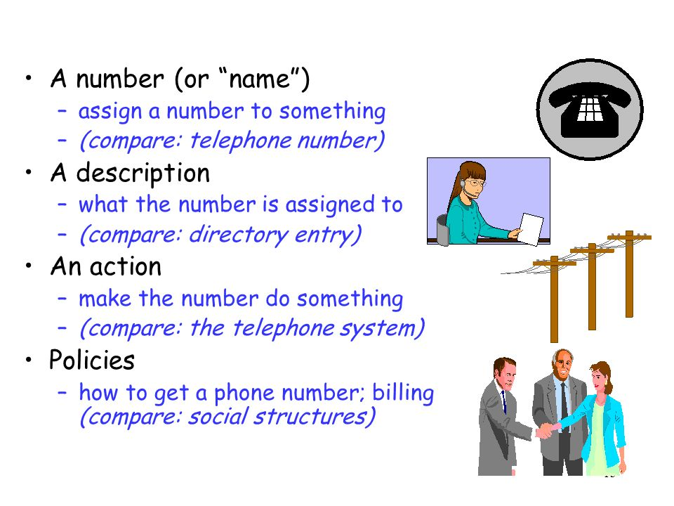 13 A number (or name) –assign a number to something –(compare: telephone number) A description –what the number is assigned to –(compare: directory entry) An action –make the number do something –(compare: the telephone system) Policies –how to get a phone number; billing (compare: social structures)