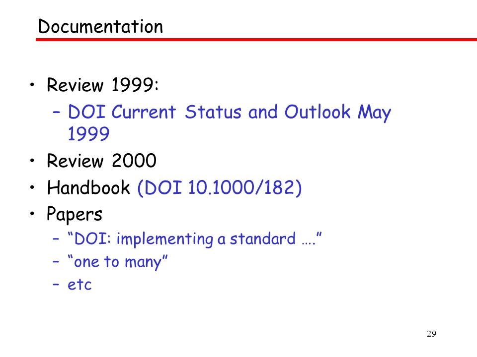 29 Review 1999: –DOI Current Status and Outlook May 1999 Review 2000 Handbook (DOI /182) Papers –DOI: implementing a standard ….