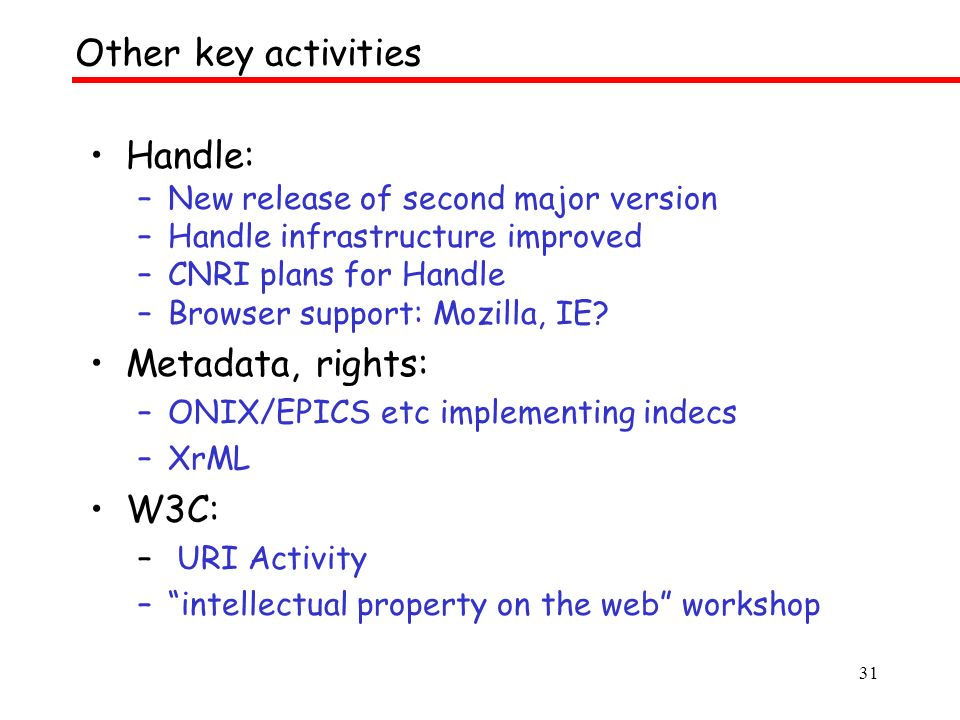 31 Handle: –New release of second major version –Handle infrastructure improved –CNRI plans for Handle –Browser support: Mozilla, IE.