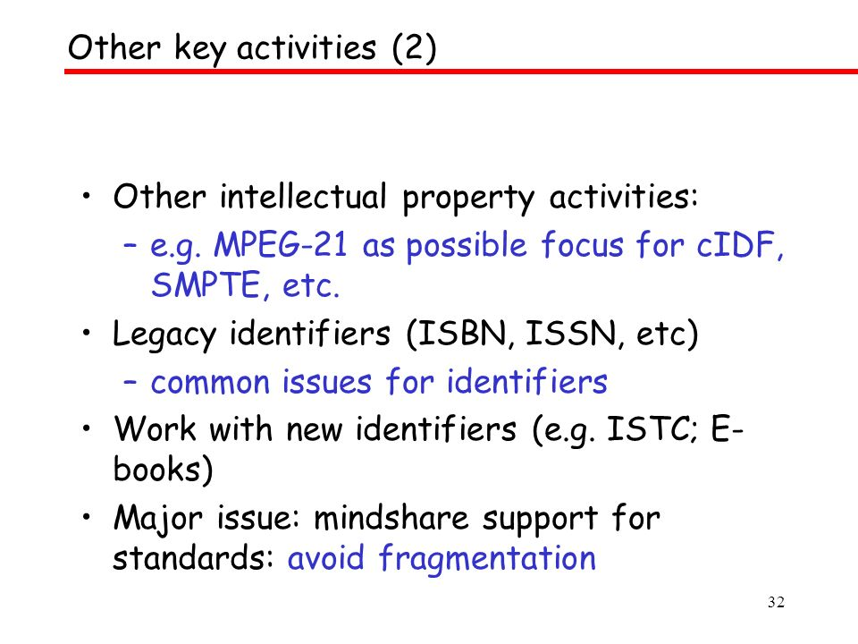 32 Other intellectual property activities: –e.g. MPEG-21 as possible focus for cIDF, SMPTE, etc.