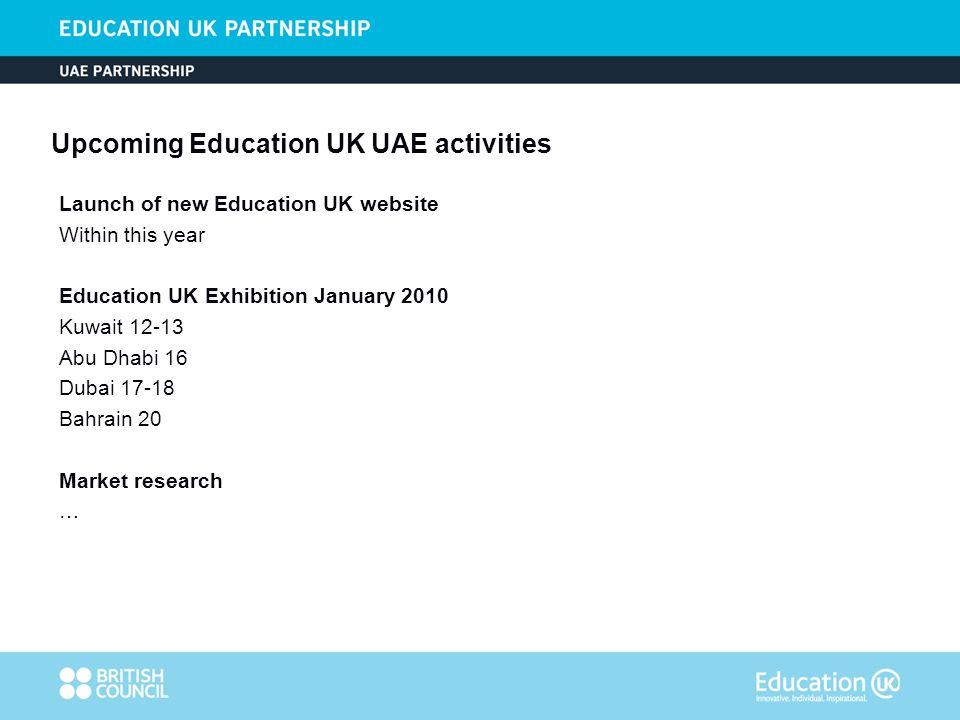 Upcoming Education UK UAE activities Launch of new Education UK website Within this year Education UK Exhibition January 2010 Kuwait 12-13 Abu Dhabi 16 Dubai 17-18 Bahrain 20 Market research …