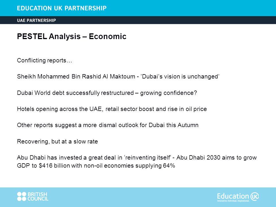 PESTEL Analysis – Economic Conflicting reports… Sheikh Mohammed Bin Rashid Al Maktoum - Dubais vision is unchanged Dubai World debt successfully restructured – growing confidence.