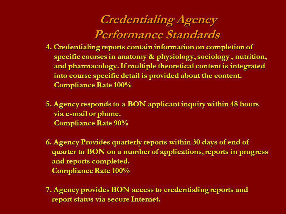 Credentialing Agency Performance Standards 4.