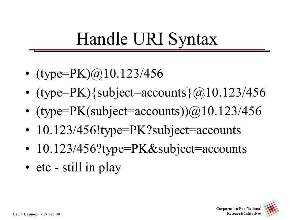 Corporation For National Research Initiatives Handle URI Syntax (type=PK)@10.123/456 (type=PK){subject=accounts}@10.123/456 (type=PK(subject=accounts)