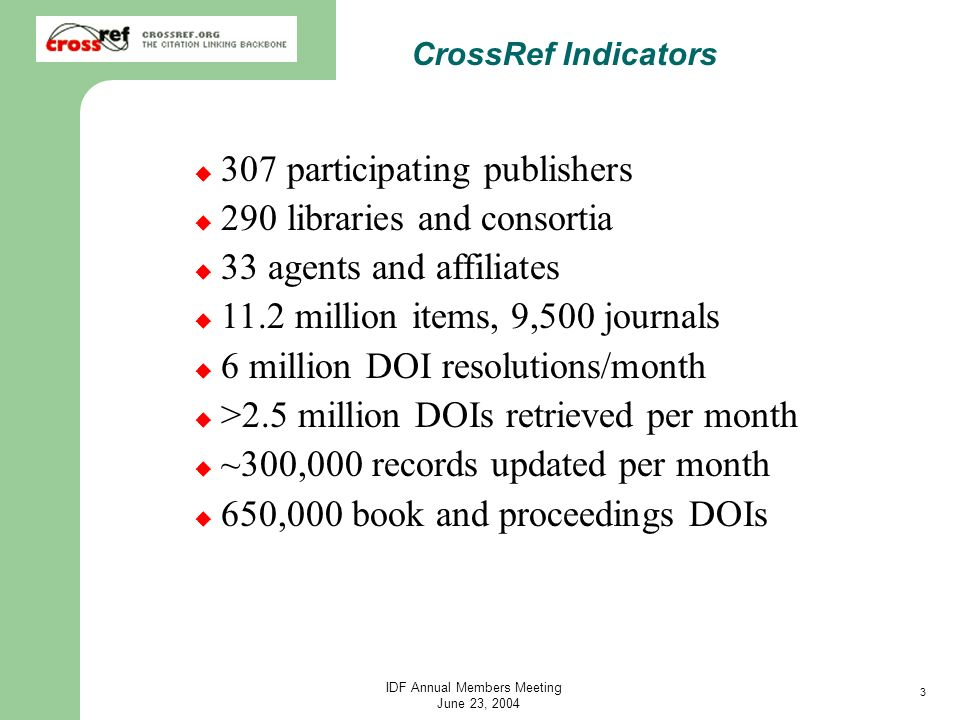 3 IDF Annual Members Meeting June 23, 2004 CrossRef Indicators 307 participating publishers 290 libraries and consortia 33 agents and affiliates 11.2 million items, 9,500 journals 6 million DOI resolutions/month >2.5 million DOIs retrieved per month ~300,000 records updated per month 650,000 book and proceedings DOIs