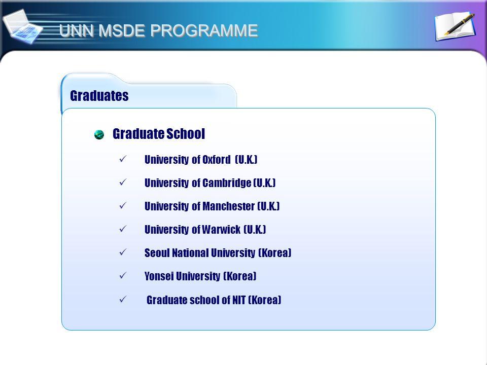 Graduates Graduate School University of Oxford (U.K.) University of Cambridge (U.K.) University of Manchester (U.K.) University of Warwick (U.K.) Seou