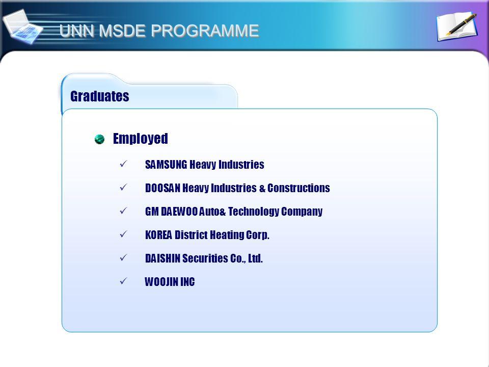 Graduates Employed SAMSUNG Heavy Industries DOOSAN Heavy Industries & Constructions GM DAEWOO Auto& Technology Company KOREA District Heating Corp. DA