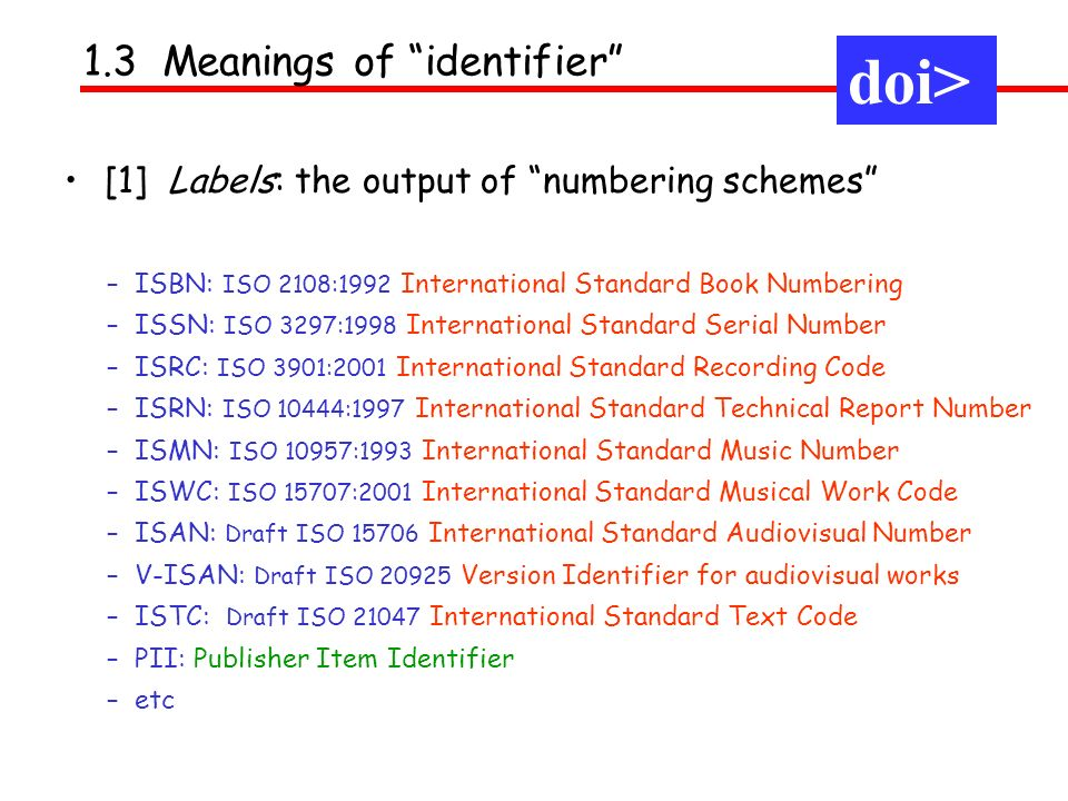 [1] Labels: the output of numbering schemes 1.3 Meanings of identifier doi> – ISBN: ISO 2108:1992 International Standard Book Numbering – ISSN: ISO 32