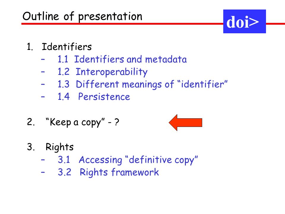1. Identifiers –1.1 Identifiers and metadata –1.2 Interoperability –1.3 Different meanings of identifier –1.4 Persistence 2.Keep a copy - ? 3.Rights –