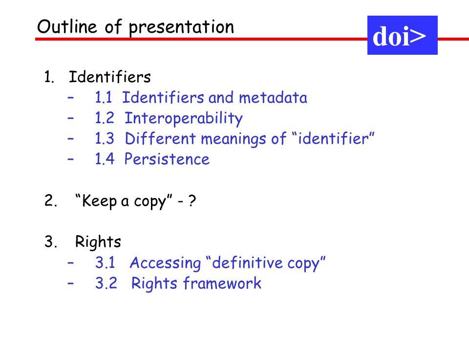 An identifier = an unambiguous string denoting an entity 1.1 Identifiers and metadata doi> 0550 10234 5