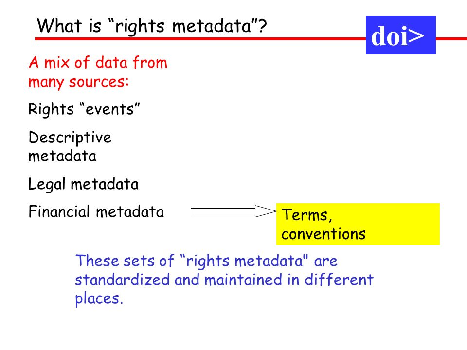A mix of data from many sources: Rights events Descriptive metadata Legal metadata Financial metadata Terms, conventions What is rights metadata? Thes