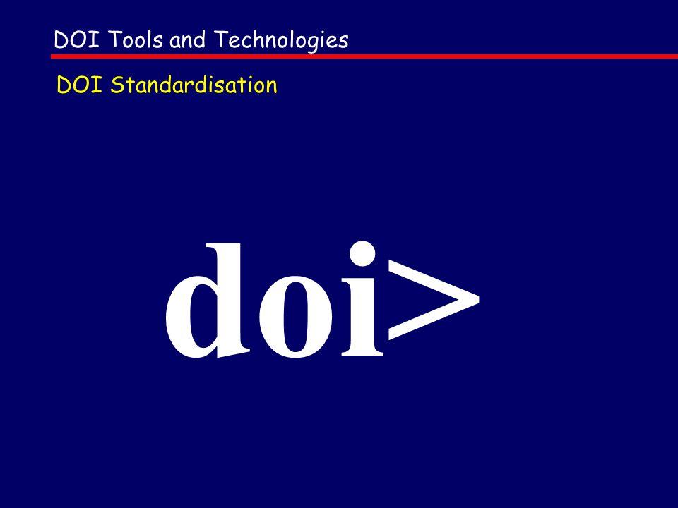 DOI Standardisation Information identifiers Metadata Internet