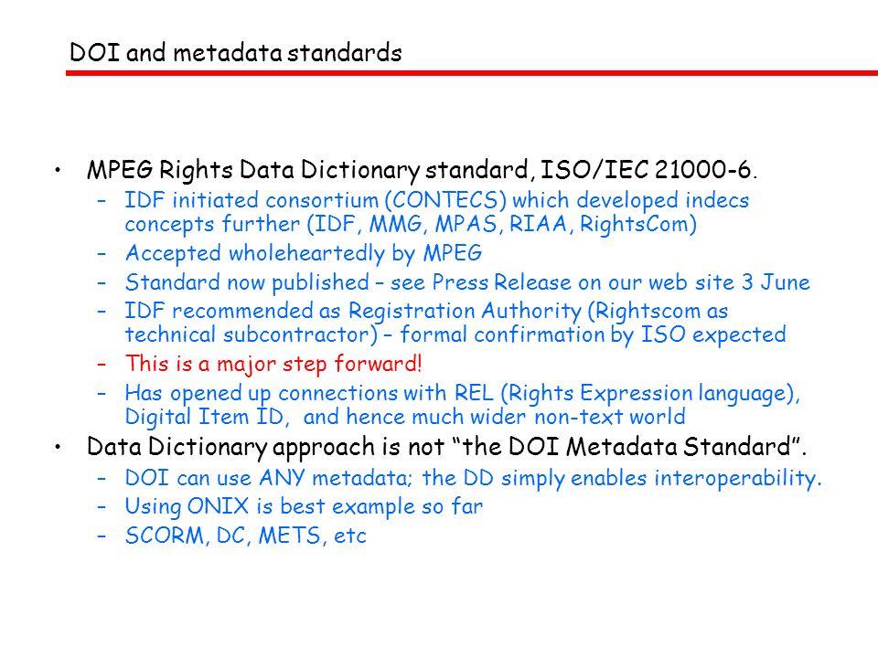 OntologyX RightsCom (Mi3p etc) indecsDD IDF + ONIX Development of indecs 1998-2004 Black = what Red = who indecs (2000) indecs Framework Ltd IFPI/RIAA, MPA, IDF, DentsuMMG, Rightscom CONTECS (2001+) 2004 ISO MPEG21 RDD IDF 1998-2004: Defining what is identified through metadata