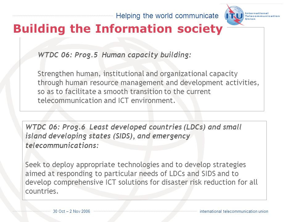 Helping the world communicate 30 Oct – 2 Nov 2006 14 international telecommunication union WTDC 06: Prog.5 Human capacity building: Strengthen human,
