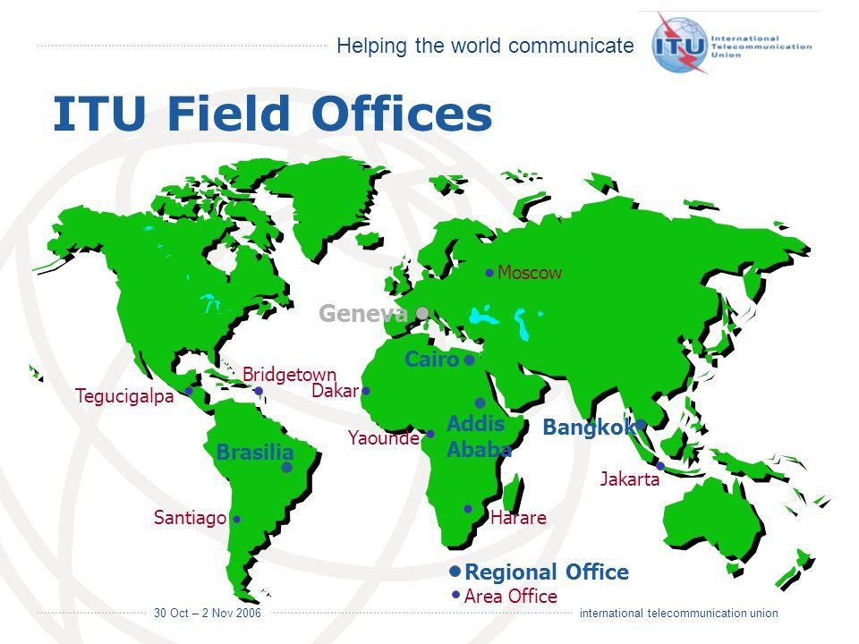 Helping the world communicate 30 Oct – 2 Nov 2006 4 international telecommunication union ITU Field Offices Brasilia Santiago Moscow Bridgetown Teguci