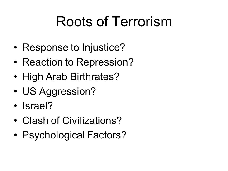 Roots of Terrorism Response to Injustice. Reaction to Repression.